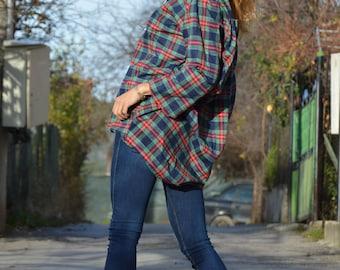 Maxi Wool Cotton Shirt, Oversize Tunic, Loose Shirt, Tunic Top for Womens, Plus Size Shirt, Asymmetric Zipper Shirt by SSDfashion