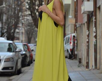New Yellow Sleeveless Viscose Top Vest, Extravagant Long Vest, Asymmetric Elegant Vest by SSDfashion