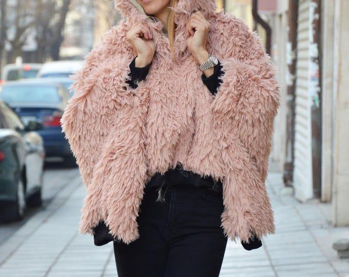 Dusty Rose Extravagant Maxi Hooded Coat, Asymmetric Warm Fluffy Sweatshirt, Plus Size Clothing by SSDfashion