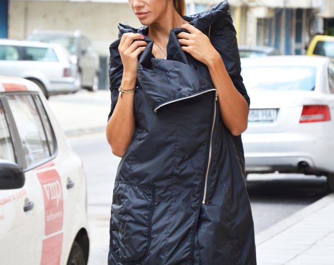 Extravagant Black Maxi Vest, Designer Warm Sleeveless Vest, Loose Asymmetric Coat, Double Zipper by SSDfashion