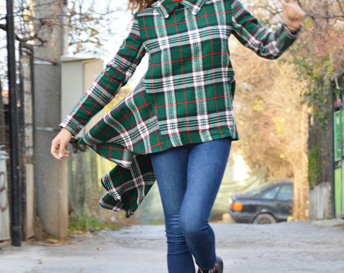 Oversized Scottish Plaid Maxi Tunic, Long Sleeve Extravagant Shirt, Asymmetric Casual Shirt Dress by SSDfashion