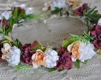 Bridal flower crown Bridal floral crown Burgundy Flower Hair Wreath Wedding Headband Floral wedding crown Floral Hairpiece Flower crown