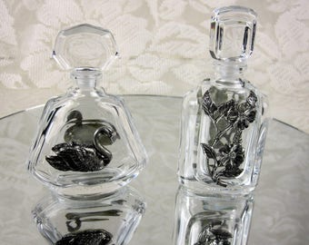Vintage Cristal Of France Glass and Pewter Perfume Bottles, Gift Idea, Set Of Two Cristal Perfume Bottles, 1960s