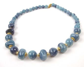 Blue Plastic Bead Necklace,  One Strand Turquoise Choker, Vintage Costume Jewelry 1960s