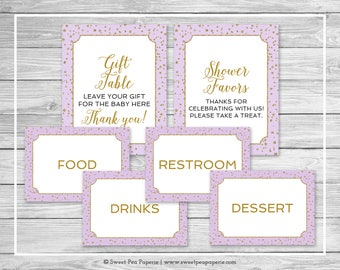 Purple and Gold Baby Shower Table Signs - Printable Baby Shower Table Signs - Purple and Gold Confetti Table Signs - EDITABLE Signs - SP148