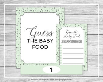 Mint and Silver Baby Shower Guess The Baby Food Game - Printable Baby Shower Guess The Baby Food Game - Mint and Silver Baby Shower - SP152