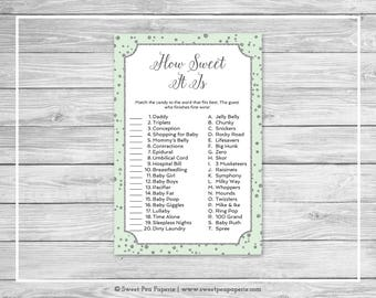 Mint and Silver Baby Shower How Sweet It Is Game - Printable Baby Shower How Sweet It Is Game - Mint and Silver Confetti Baby Shower - SP152