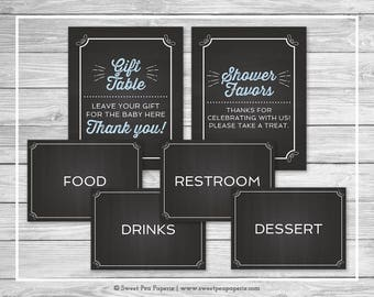 Chalkboard Baby Shower Table Signs - Printable Baby Shower Table Signs - Blue Chalkboard Baby Shower - Table Signs - EDITABLE - SP156