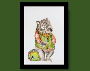 Wombat Art, Wombat Print, Wombat Art Print, Wombat Watercolour and Ink Print, Tasmanian Art Print