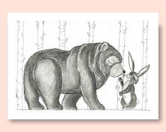 Woodland print, bear and rabbit print