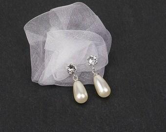 KATLLEEN earrings, ivory or white Swarovski pearls, sterling silver