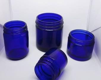 Set of 4 cobalt blue glass jars