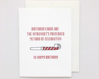 Introvert Birthday Card // funny birthday card, snarky birthday card, introvert card, introverting, funny card, best friend birthday card