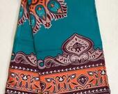 "African Fabric/ Ankara - Teal, Orange, Brown ""Sokoto"", YARD or WHOLESALE"
