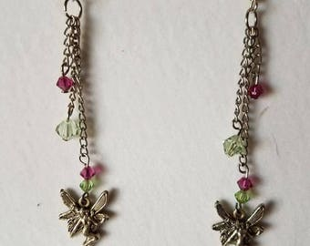 Fairy, Green and Pink Earrings