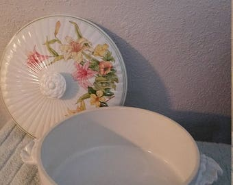 ON SALE Jade Lily Fine Porcelain by Shafford Casserole Dish