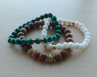 The Malachite stack with white coral and sandalwood