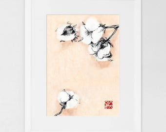 Mother's Love Cotton Flower Art Print Poster, Unique Sumi-e painting on Rice Paper Symbol Zen Illustration Ink Brush Drawing