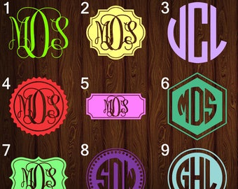 Monogram Decals Choose Color and Style, Monogram Stickers, Monogram Car Decals, Yeti Monogram, Vinyl Monogram