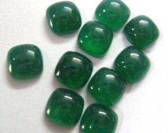 25-P Wholesale Lot Of Green Onyx cushion Shape Loose Gemstone Cabochon for jewelry