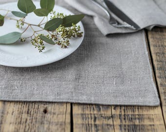 Rustic linen placemats set, Country placemats, Burlap placemats, Natural placemat, Primitive placemats, Farmhouse placemats, Washable