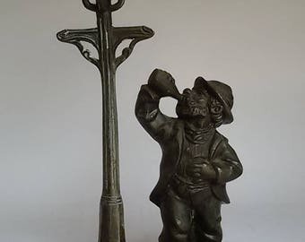 French Antique spelter/french antique tramp oil given tramp / Art nouveau / Modern style