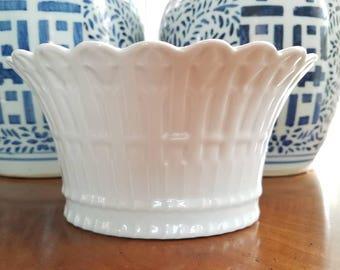 Beautiful Limoges porcelain cachepot // porcelain de Limoges // planter // vase // container // Made in France // French porcelain