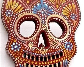Day of the Dead Skull // Painted Wood Sugar Skull // Mexican Folk Art // LG 11x8,  #3