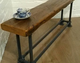 March Sale FREE DELIVERY! Old Church Beam Rustic Reclaimed Wood Galvanised Steel Pipe Industrial Dining Study Bench