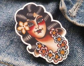 Aloha! Tropical Hawaiian Hula Girl Brooch