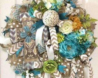 Floral Wreath with Cross, Burlap Deco Mesh Wreath, Easter Wreath, Spring Wreath, Religious Wreath, Home Decor, Floral Decor, Wall Decor