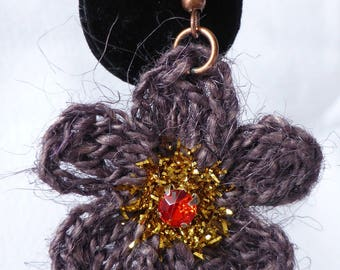 jute wire and small diamond earrings