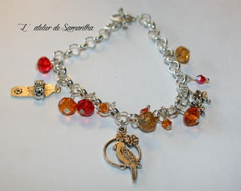 """Charm bracelet """"parrot"""" with Crystal beads"""
