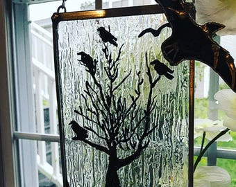 Ravens Stained Glass Panel