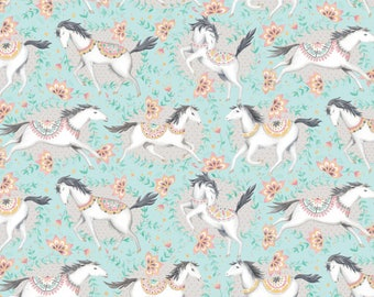 Blend Hill And Dale Fillies Horse Fabric - Aqua (Priced by the half yard and cut continuously)