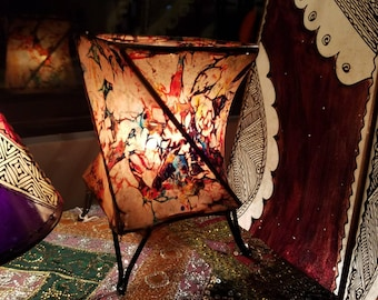 """14"""" Multicolor Marbled Style Moroccan Goat Skin  / Henna Lamp."""