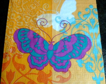 orange 6 butterflies background paper towel