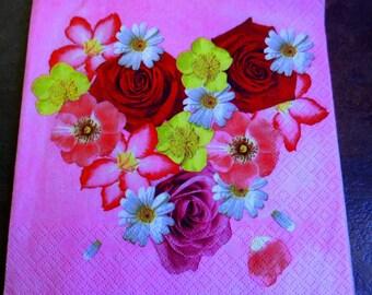 Paper flowers, paper heart towel towel 1