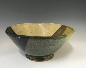 Large Stoneware Salad Bowl or Pasta Bowl - Earth Tone Colors - Black, Pippin Green, and Cream -  Pottery Bowl - Handmade Salad Bowl -