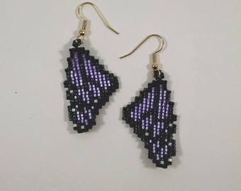Beaded Purple Monarch Butterfly Wing Earrings, Lavender Wings, Off Loom Style