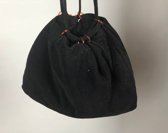 Vintage 1950s 1960s Purse | 50s 60s Black Velour Pouch Handbag with Amber Drawstring Loops