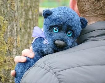 Blue teddy bear BLUEBERRIES 11.8 inch Artist teddy bear Ooak bear Free shipping
