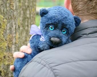 Blue teddy bear Handmade Stuffed animal Artist teddy bear Ooak bear Ours artiste Free shipping