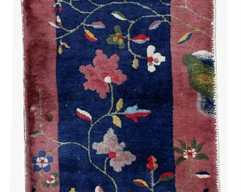 Hand made antique Art Deco Chinese rug 2' x 3.10' ( 61cm x 120cm ) 1920s