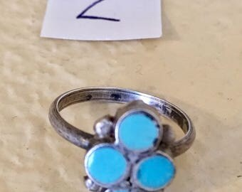 One sterling silver , turquoise handmade ring size 4 1/2