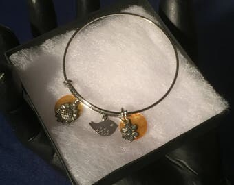 Sunflower and Bird Bracelet