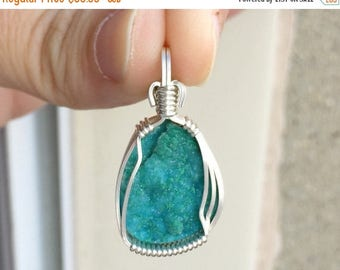 SALE Hemimorphite pendant, Wire wrapped pendant, Sterling silver, Botryoidal hemimorphite jewelry, Hemimorphite necklace, Blue pendant