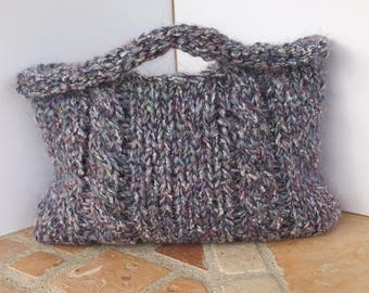 Heather wool bag with twisted, eco-responsible