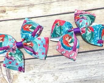 Little Mermaid Hair Clip, Little Mermaid Pigtails, Little Mermaid Hairbow, Ariel hair bow, Princess Ariel Baby bow, toddler bow