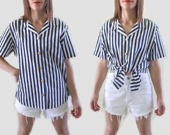 Vintage Striped T Shirt - 1970s Nautical Shirt - Boating Shirt - Yacht Shirt - Sailing Shirt - Anchor Shirt - 1970s Shirt